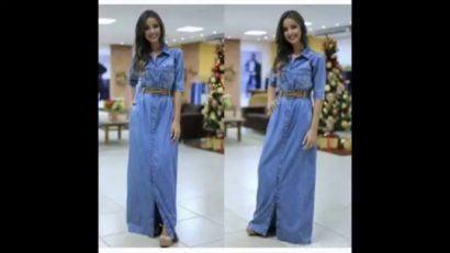 vestido longo jeans com cinto 410x231 Vestidos jeans evangélicos belos e perfeitos