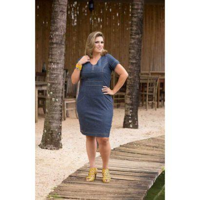 vestido para gordinhas moda evangelica 410x410 Vestidos jeans evangélicos belos e perfeitos