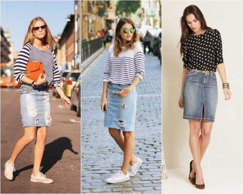 looks saia jeans com tenis e blusinhas listradas 490x392 Como usar Saia jeans com tênis looks lindos modernos e descolados