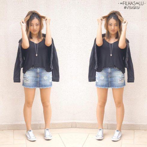 saia jeans curta e tenis all star moda feminina 490x490 Como usar Saia jeans com tênis looks lindos modernos e descolados