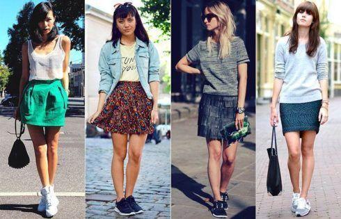 saias jeans com tenis e outras saias 490x315 Como usar Saia jeans com tênis looks lindos modernos e descolados