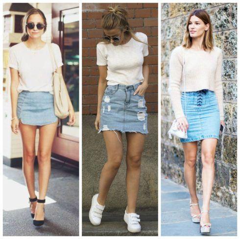 saias jeans com tenis jeans destroyed 490x488 Como usar Saia jeans com tênis looks lindos modernos e descolados
