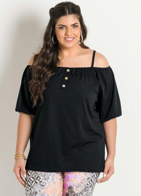blusa ciganinha preta plus size 490x678 Modelos de blusas : Regatinhas, modelos justinhos e muito mais