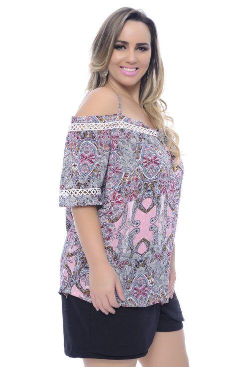 blusa ciganinha estampada rosa plus size 490x735 Modelos de blusas : Regatinhas, modelos justinhos e muito mais