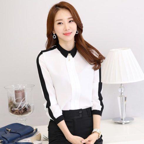 blusas camisas social feminina 490x490 Modelos de blusas : Regatinhas, modelos justinhos e muito mais