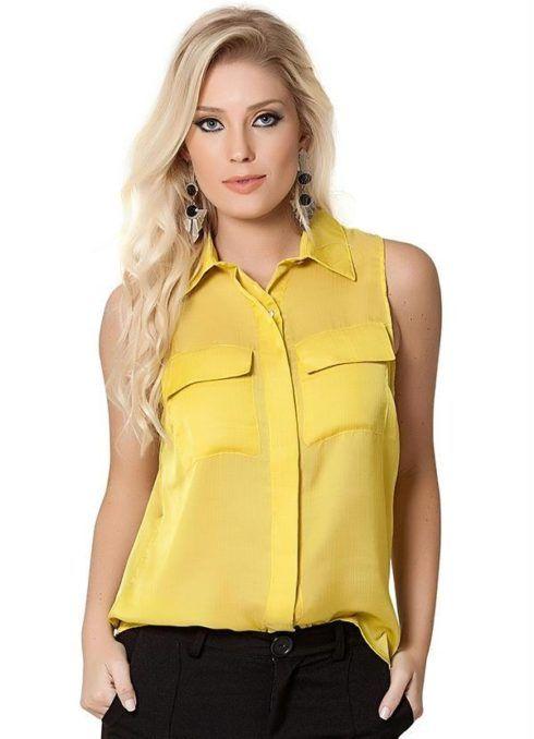 modelos de blusas femininas amarela 490x678 Modelos de blusas : Regatinhas, modelos justinhos e muito mais