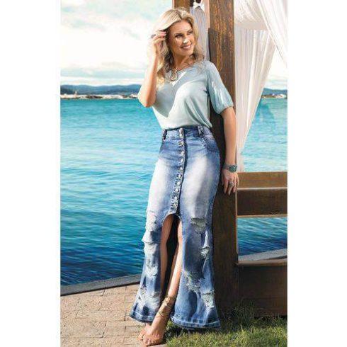 saias longas evangelicas jeans 490x490 Saias rodadas evangélicas moda para mulheres cristãs