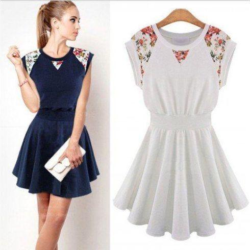 vestido acinturado com detalhe floral 490x490 Vestido acinturado rodado Modelos para você ficar incrível