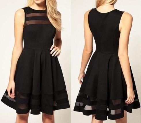 vestido casual preto rodado detalhes transparentes 490x428 Vestido acinturado rodado Modelos para você ficar incrível