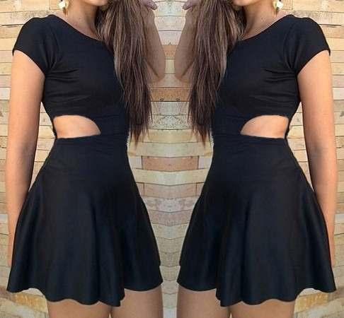 vestido rodado com recorte lateral vazado Vestido acinturado rodado Modelos para você ficar incrível