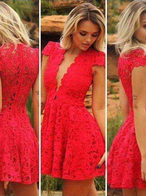 vestidos acinturados e rodados vermelho de renda Vestido acinturado rodado Modelos para você ficar incrível