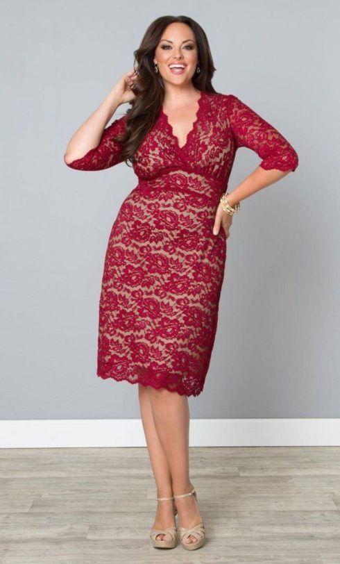 vestidos de renda para gordinhas 490x812 Vestidos evangélicos modelos tubinho e muito mais