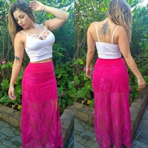 saia de renda pink longa 490x490 SAIAS longas da Moda : Conheça os modelos atuais