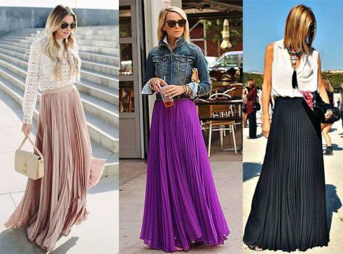 saia longa plissada 1 490x363 SAIAS longas da Moda : Conheça os modelos atuais