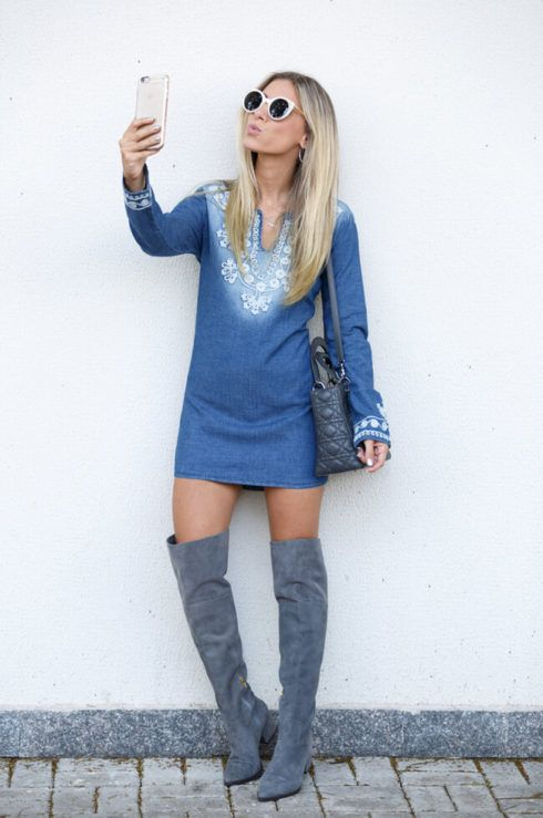 vestido com bota 14 490x739 Como usar Vestido com BOTA: cano curto ou longo