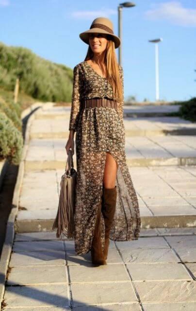 vestido longo com bota 1 Como usar Vestido com BOTA: cano curto ou longo