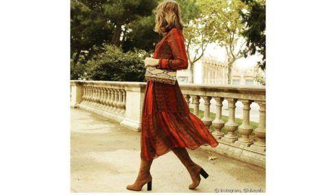vestido longo com bota 9 490x285 Como usar Vestido com BOTA: cano curto ou longo