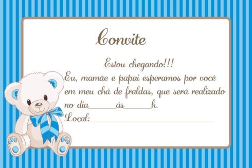 convites para cha de bebe 6 490x327 20 Convites para chá de fraldas ou bebê para Imprimir editáveis