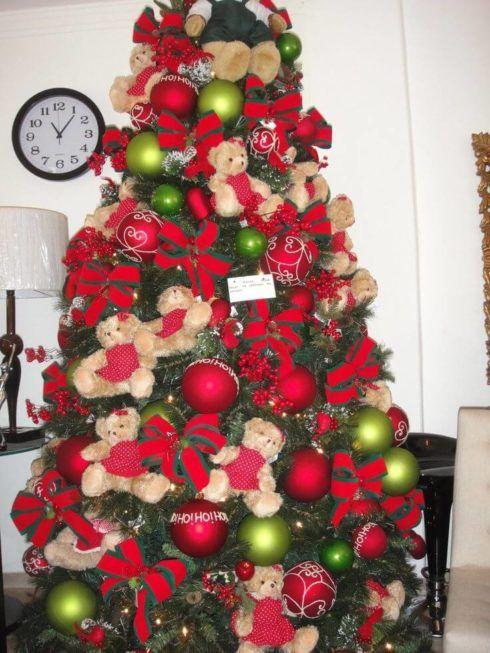 arvores de natal com lacos 1 490x653 Arvores de NATAL decoradas para o seu lar