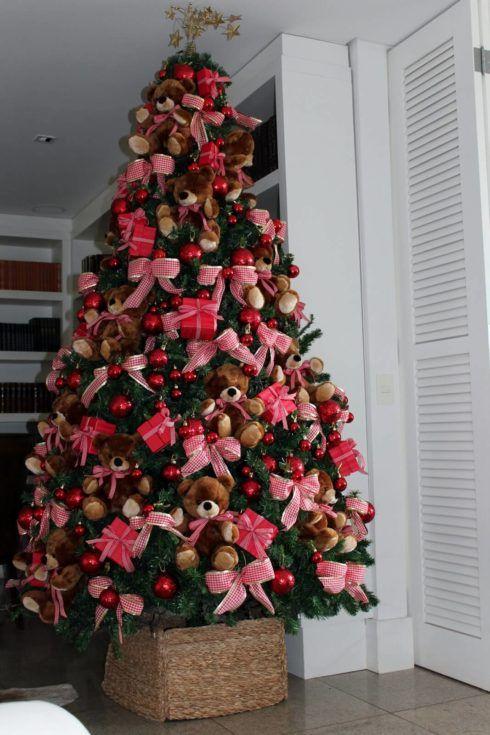 arvores de natal com lacos 3 490x735 Arvores de NATAL decoradas para o seu lar