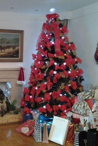 arvores de natal com lacos 4 Arvores de NATAL decoradas para o seu lar