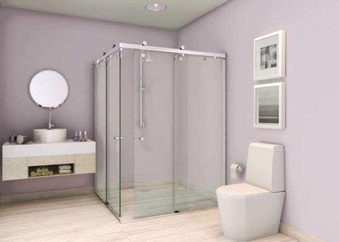 banheiro com box de vidro 1 490x350 BANHEIRO SIMPLES acabamentos que deixam o banheiro moderno