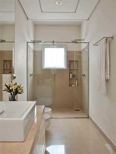banheiro com porcelanato 1 BANHEIRO SIMPLES acabamentos que deixam o banheiro moderno