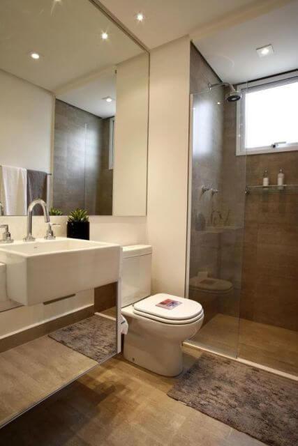 Banheiro revestimento porcelanato madeira : Banheiro simples acabamentos que deixam o moderno
