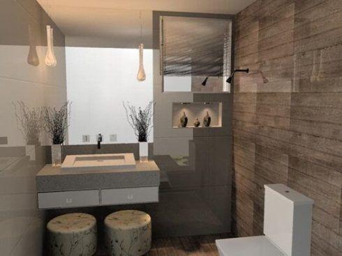 banheiro com porcelanato 3 490x367 BANHEIRO SIMPLES acabamentos que deixam o banheiro moderno