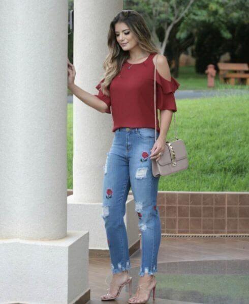blusa ombro vazado com calca 2 490x597 BLUSA OMBRO VAZADO modelos para usar e ficar linda