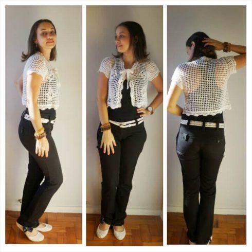 bolero com calca 1 490x490 Como Usar BOLERO com vestido, saia, ou calça ( Looks e fotos )