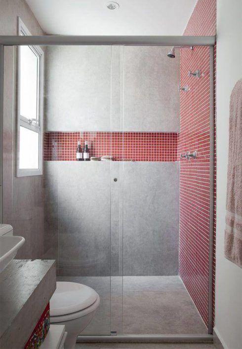 com pastilha vermelha 490x707 BANHEIRO SIMPLES acabamentos que deixam o banheiro moderno