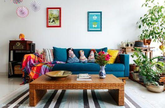 Sala Com SOFÁ AZUL veja os modelos e como decorar o ambiente