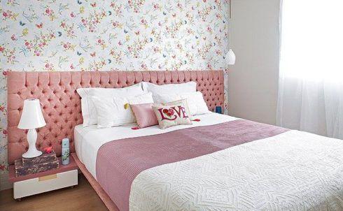 papel de parede com flores 490x302 Papel de parede para QUARTO DE CASAL veja as cores