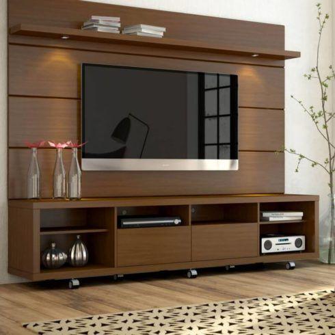 rack com painel marrom 490x490 RACK PARA TV modelos para sala de estar, confira