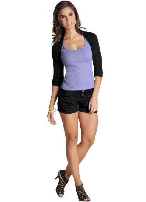 shorts com bolero 3 490x678 Como Usar BOLERO com vestido, saia, ou calça ( Looks e fotos )