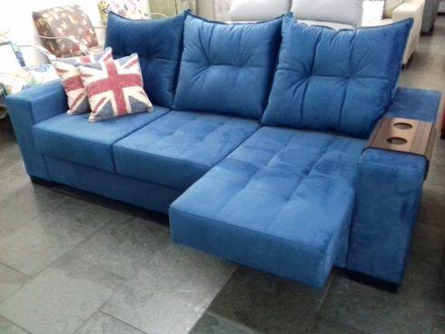 sofa azul 3 lugares 1 490x368 Sala Com SOFÁ AZUL veja os modelos e como decorar o ambiente