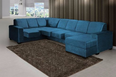 sofa azul de canto 1 490x327 Sala Com SOFÁ AZUL veja os modelos e como decorar o ambiente