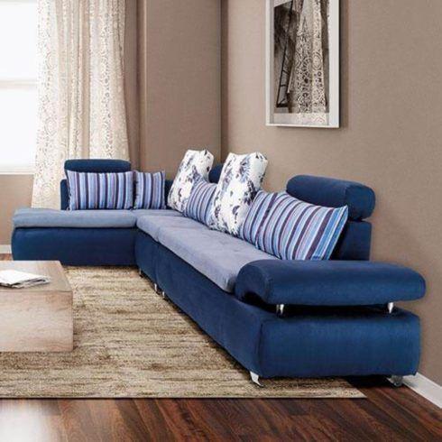 sofa azul de canto 2 490x490 Sala Com SOFÁ AZUL veja os modelos e como decorar o ambiente