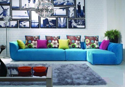 sofa azul de canto 3 490x340 Sala Com SOFÁ AZUL veja os modelos e como decorar o ambiente