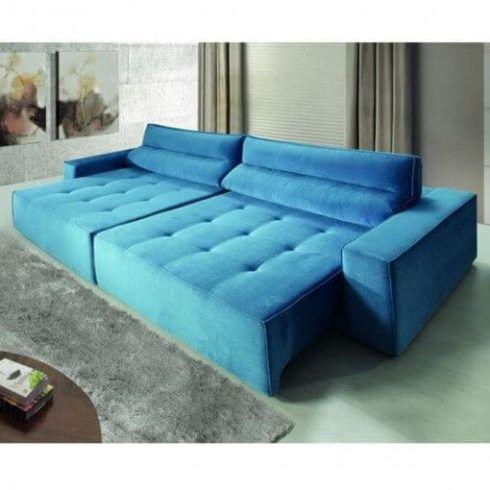 sofa azul retratil 1 490x490 Sala Com SOFÁ AZUL veja os modelos e como decorar o ambiente