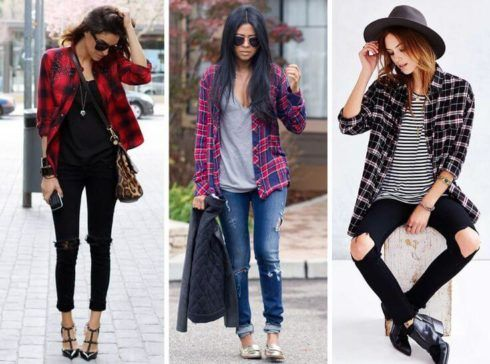 camisa xadrez com calca feminina 490x364 Como usar estampa XADREZ conheça os looks