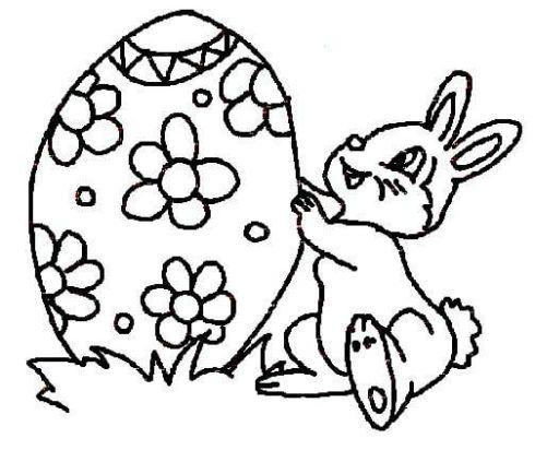 coelhinho com ovo gigante para pintar 490x412 Desenhos da PÁSCOA para colorir (Máscara, ovos, Mensagens)