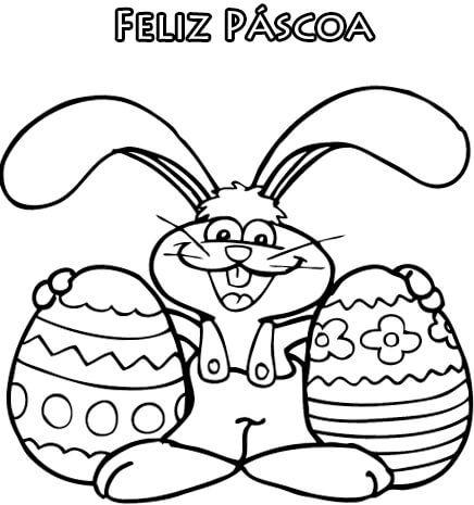 coelho deseja feliz pascoa Desenhos da PÁSCOA para colorir (Máscara, ovos, Mensagens)