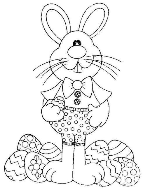 coelho e ovos para colorir da pascoa 490x652 Desenhos da PÁSCOA para colorir (Máscara, ovos, Mensagens)