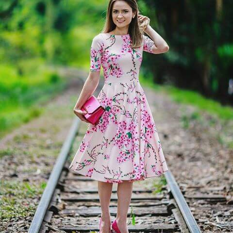 floral midi gode vestido VESTIDO GODÊ apaixone-se pelos looks e use