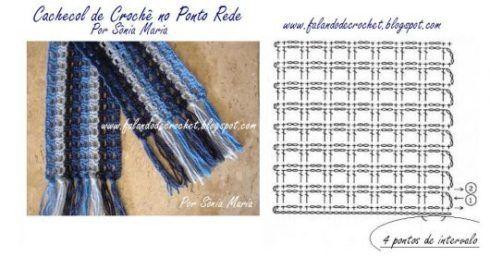 grafico cachecol croche 5 490x256 Como usar Cachecol com CAPUZ e Gráficos de Crochê