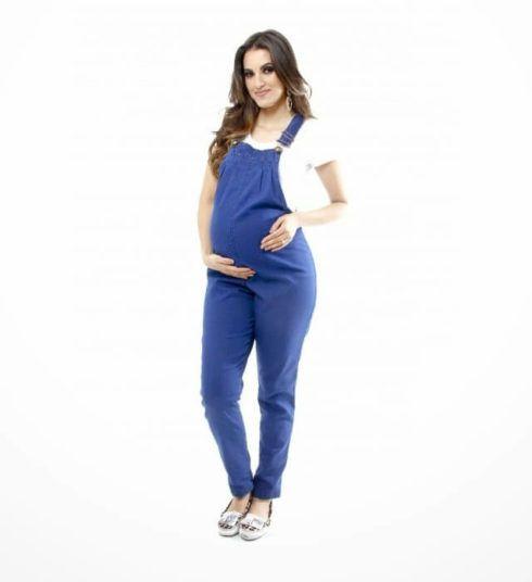 macacao jeans para gestante 2 490x536 Macacão para GESTANTE DA moda conheça modelos