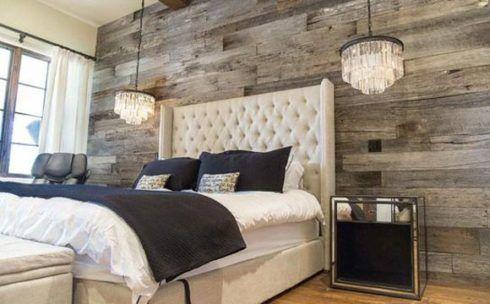 madeira envelhecida no quarto na parede 490x304 PAREDE DE MADEIRA, revestimento bonito que dá certo