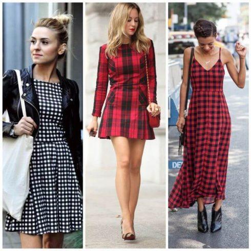 moda do vestido xadrez modelos curtos e longos 490x490 Como usar estampa XADREZ conheça os looks